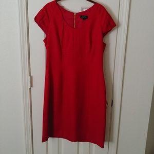 NWT $129 Tahari Size 12 Red Cap-Sleeve Dress